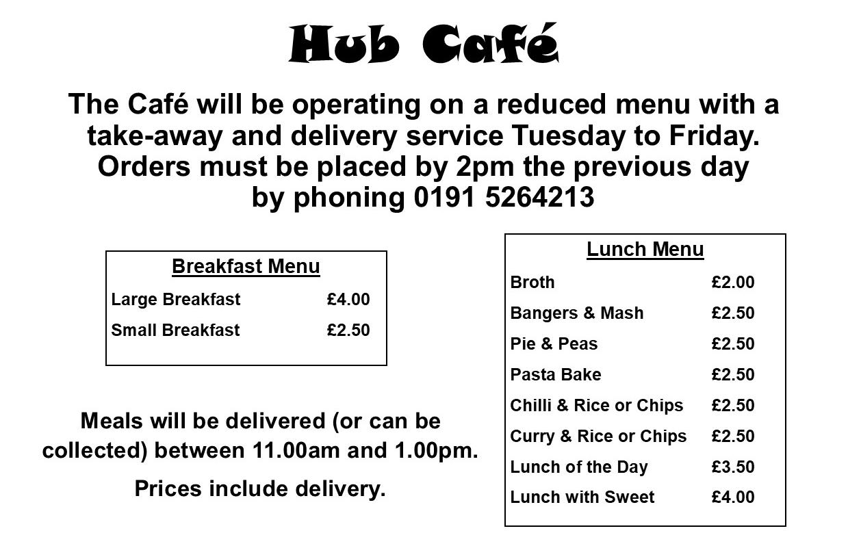 Hub Cafe Menu during Lockdown